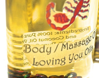 Scorpio Scent Body / Massage Oil with Hematite Gemstones