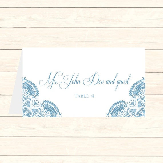 Wedding Place Card DIY Template Vintage Lace In Newport Blue