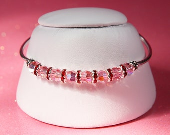 Light Rose Swarovski Crystal and Sterling Silver Bracelet