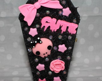Pink and Grey Creepy Cute Coffin Decoden Jewelry Box