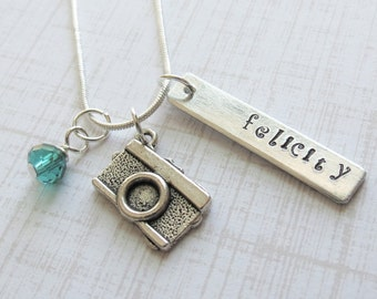 Camera Photographer Personalized Charm Necklace Hand Stamped