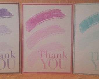 Three Piece Monochromatic Thank You Card Set Purple Pink Blue with Envelope