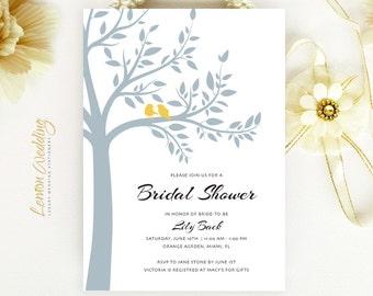 Tree bridal shower invitations printed | Gray and yellow wedding shower invitation | Couples shower invitations | Bird bridal shower invites