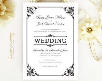 Vintage Wedding Invitations printed on pearlescent paper | Retro Wedding invites | Black and white | Ornate victorian wedding cards cheap