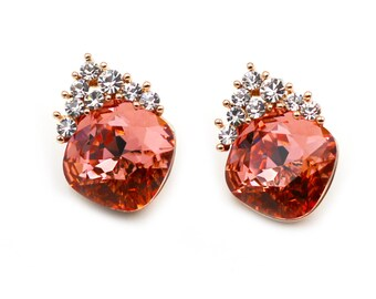 Fashion Red Crystal Silver Earrings …