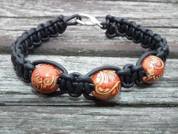 Black leather bracelet for him