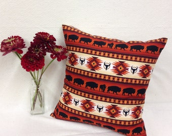 Cushion cover, Canadian Aboriginal made, Decorative Pillow cover,  Buffalo, Native American, Terracotta, Cotton, Southwestern
