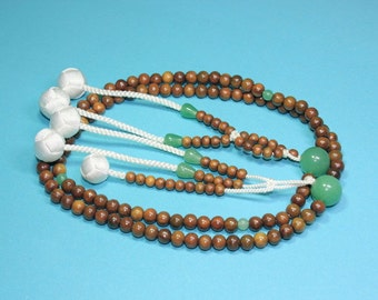 "Nichiren SGI Buddhist prayer beads Japanese Nenju malas Verawood ""green sandalwood"" -world free shipping"