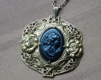 Black Cameo Pendant Necklace