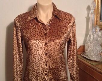 Sportsgirl(made in Australia) velour animal print blouse (size 10/M)