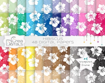 Hawaiian hibiscus flowers rainbow paper pack - 48 digital papers - INSTANT DOWNLOAD