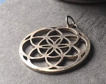 Seed of Life Flower of Life Large Brass Pendant Sacred Geometry 38mm x 35mm Metal Focal