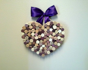 Wine Cork Heart, Hanging Heart, Heart and Bow