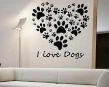 I Love Dogs Heart Wall Decal Sticker Art Decor Bedroom Design Mural art dog lover animals