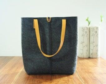 Leather tote bag, handmade bag,felt bag, yellow and dark grey tote, large tote bag, felt tote bag