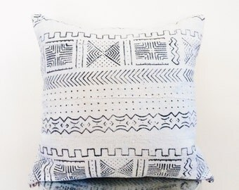 Authentic African Black and White Mudcloth Decorative Pillow- Cover Only