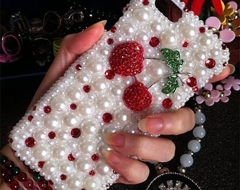 New Cute Bling Pearls Sparkles Charms Girly 3D Red Cherry Gems Crystals Rhinestones Diamonds Fashion Lovely Hard Cover Case for Mobile Phone