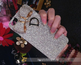 Bling AB Rhinestones Golden Bow Letter D Luxury Lovely Fashion Sparkles Charms Glossy Crystals Diamonds Gem Hard Cover Case for Mobile Phone