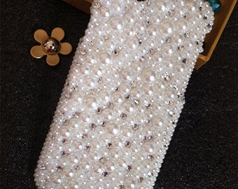 New Girly Bling Cute Assorted Sparkly Full Chic Gems Pearls Rhinestones Diamonds Gemstones Fashion Lovely Hard Cover Case for Mobile Phones