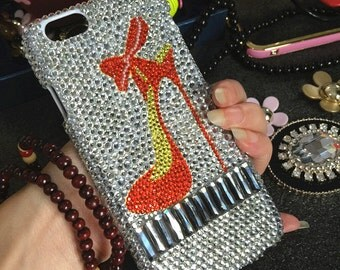New Bling Sparkly Cute Girly Colorized High-heeled shoes Crystals Rhinestones Diamonds Fashion Lovely Hard Cover for Various Mobile Phones