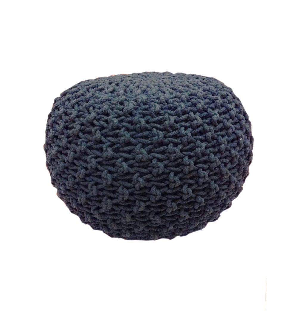 Handmade Knitted Pouf Navy Blue Hand Knit Pouf Ottoman By