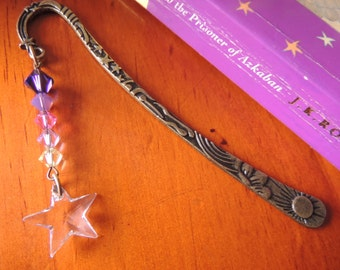 Shooting Star Antique Gold plated with Swarovski crystal bookmark