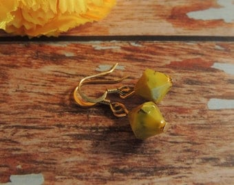 Yellow and gold beaded gold plated earrings