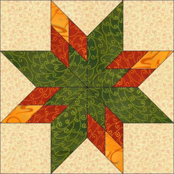 Star Block - 8x8 Inch - Geometric Pattern - Instant ...