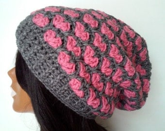 Slouchy beanie hat, pink slouchy beanie, gray and pink slouchy beanie, womens and teens slouchy beanie, winter hat, slouchy hat, pink hat