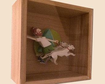 """Paper Sculpture   Paper Cut   Paper Art    """"Dog Walking""""   Handmade"""