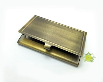 Metal Business Card Holder With Epoxy Sticker-Metal Card Case-Business Card Case-Blank Card Holder Frame-Hold a standard sized business card