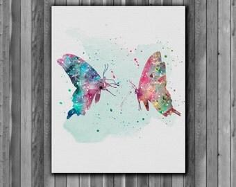 Butterflies watercolor Print  - Printable poster, Art Print, instant download, Watercolor  poster
