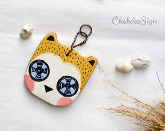 Owl hand painted wood key chain or mini wall hanging ,ornament