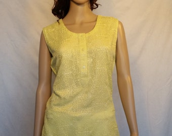 Tailor- Stitched Embroidered Chiffon Top in Lime Color