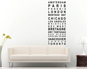 Major City Names Of The World Wall Decal Vinyl Sticker Mural Room Decor L1089