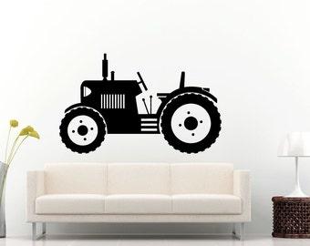 Tractor Trailer Big Tires Farmer Vehicle Work Boys Room Kids Children Toddler Wall Decal Vinyl Sticker Mural Room Decor L1096