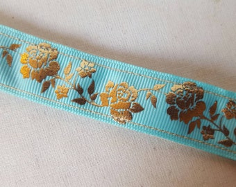 Golden Rose Aqua-Non Slip headbands, Non slip headbands, Athletic Headbands,Velvet Headbands, Fitness, Blue headband, floral, Swanky Bands