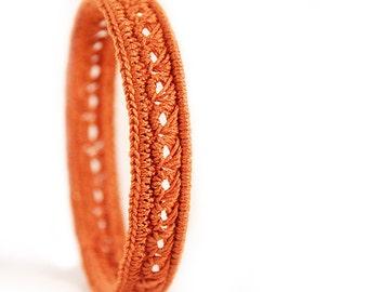 Halloween bracelet - halloween jewelry - crochet jewelry - halloween dress - bangle - copper bracelet - crochet jewellery