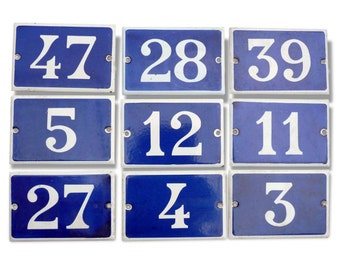 Old enamel house numbers - french door number
