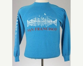 ON SALE Vintage 80s San Francisco City Scape Retro Sweatshirt Mens M Dated 1987