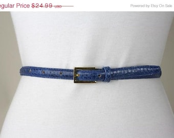 ON SALE Vintage 80s Avant Garde Blue Skinny Snakeskin Leather Belt S/M 26-30 Exc