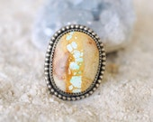 BOULDER TURQUOISE // handmade sterling silver ring . Southwestern Bohemian jewelry