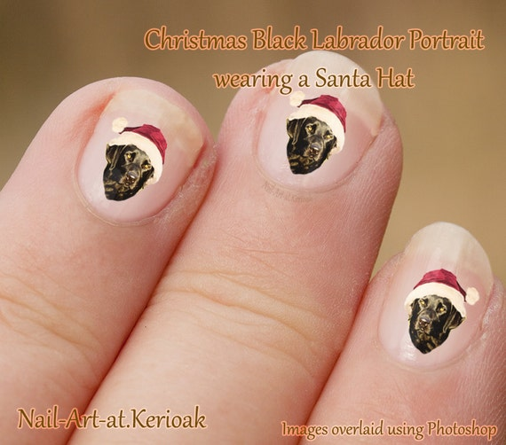 Christmas Black Labrador Nail Art Stickers, Lab Wearing