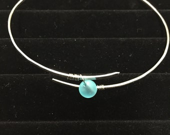 Blue Sea Glass Silver Bangle Bracelet