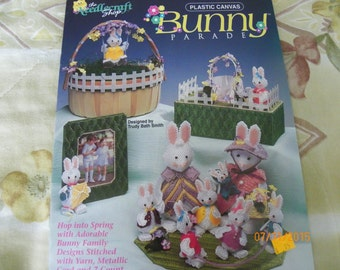 Plastic Canvas Instruction Booklet 1992-Bunny Parade by Needlecraft Shop--Bunny Family, Picture Frame, Tissue Cover, and Basket