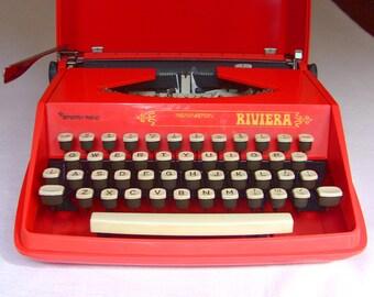 Remington Bright Orange Working Typewriter Riviera Sperry Rand Portable Typewriter White Keys, New Ribbon, Qwerty Keyboard
