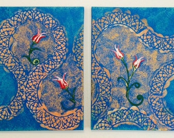 """Ebru inspired 16"""" x 20"""" diptech (2 paintings) acrylic on canvas"""
