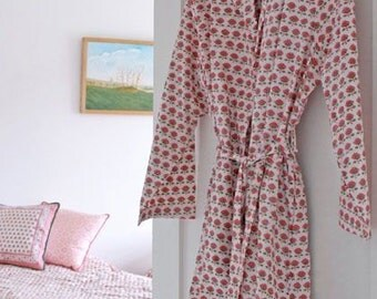 Pink Butti Dressing Gown Hand Block Printed on Organic Cotton