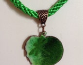 Green leaf with dragonfly enamel and Kumihimo pendant