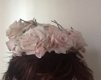Beautiful pale pink roses ladies' hat